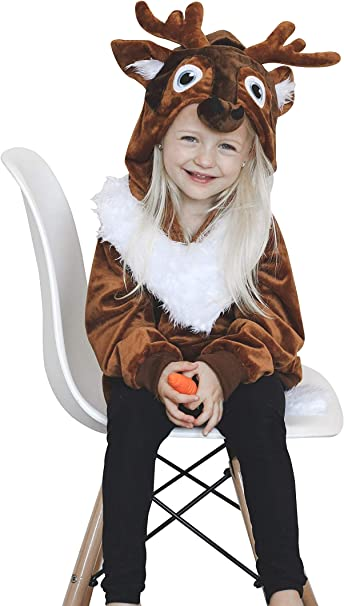 ComfyCamper Disfraz de Reno para niñas y niños, Marrón, 6-8 Años ...