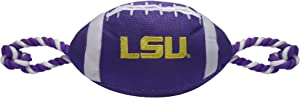 Pets First NCAA LSU Tigers Football Dog Toy, Tough Quality Nylon Materials, Strong Pull Ropes, Inner Squeaker, Collegiate Team Color