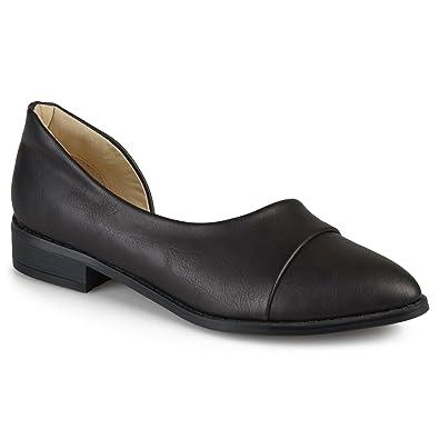 Journee Collection Womens D'Orsay Almond Toe Flats Black, 6 Regular US