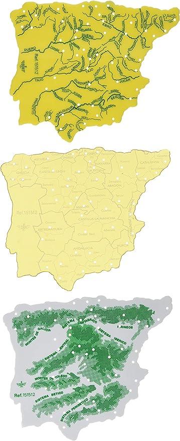 CSP 151512 - Pack de 3 plantillas con diseño mapa España, 15 x 2.5 cm: Amazon.es: Oficina y papelería