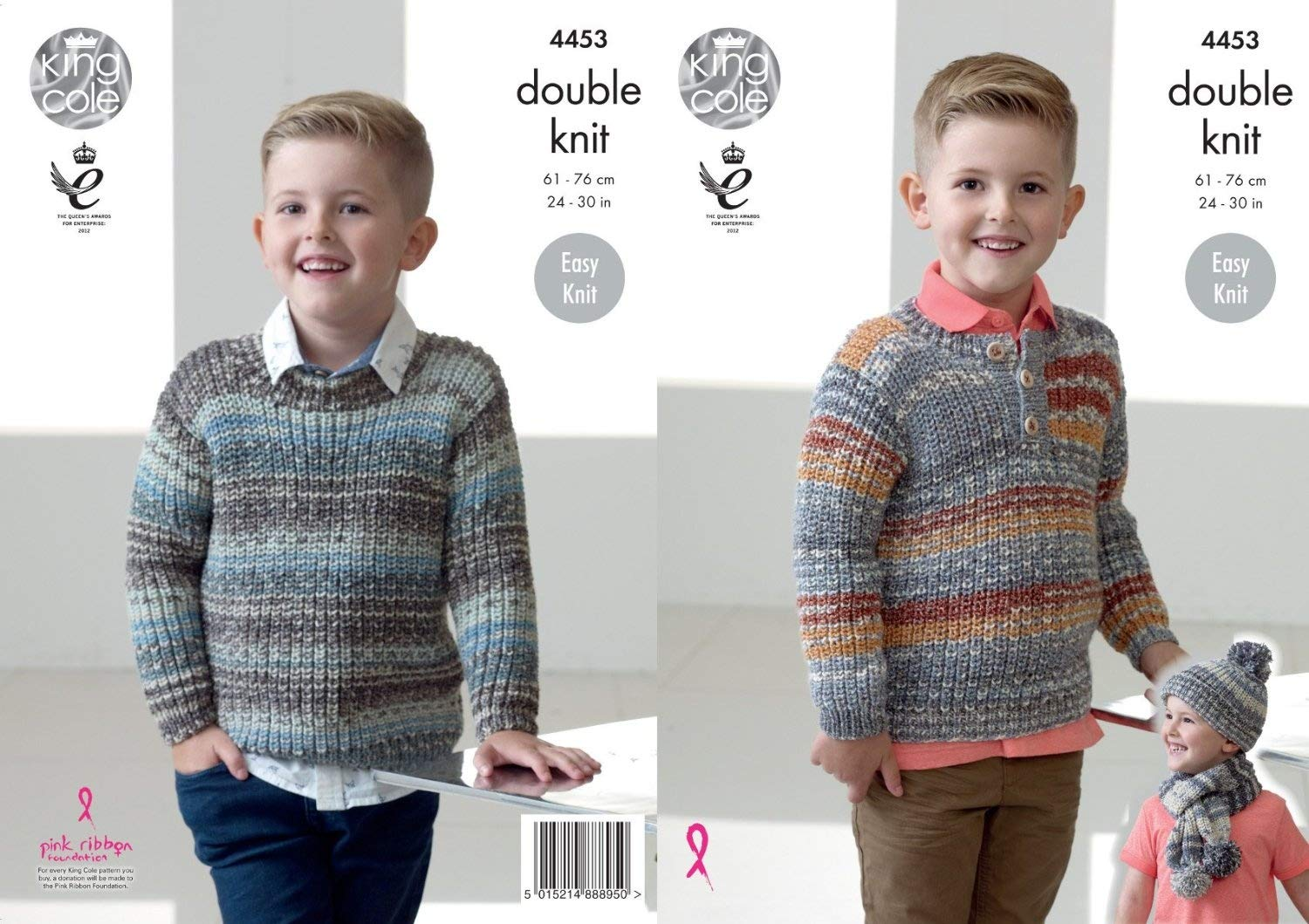 King Cole Double Knitting Pattern Boys Easy Knit Sweaters Jumpers