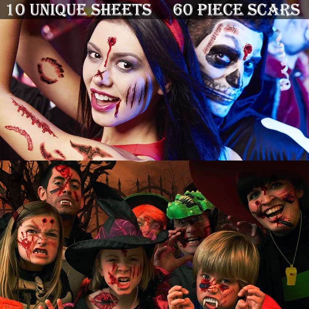 HALLOWEEN 2 FACE CUTS MAKEUP SCARS WOUND HORROR PARTY FANCY DRESS ACCESSORY