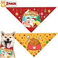 Thanksgiving Day Dog Bandana Christmas Dog Scarves and Dog Triangle Bibs Holidays Set for…