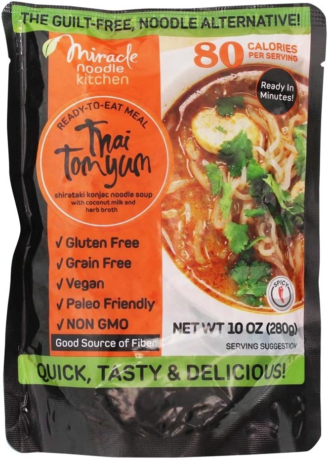 MIRACLE NOODLE, Rte Meal, Thai Tom Yum, Pack of 6, Size 10 OZ, (Gluten Free Vegan)