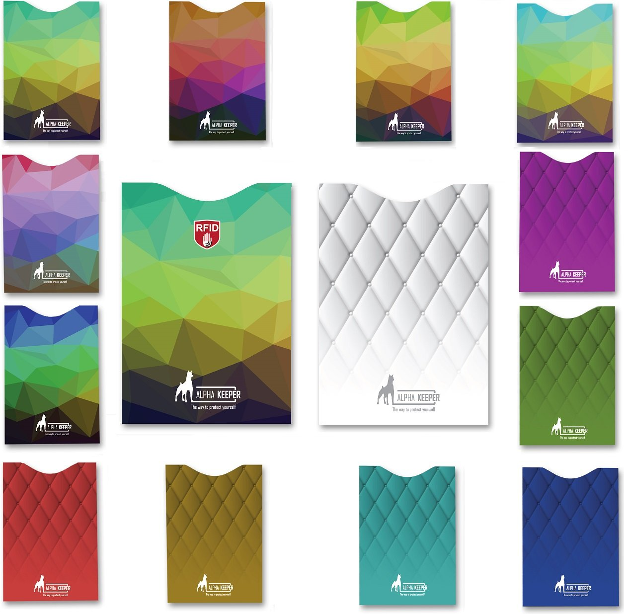 14 x RFID card protector Blocking Sleeves set of 12 x credit card protectors & 2 x Passport holder ,Unique exclusive stylish designs for Men & Women wallet Secure Identity Theft Protection, MUST BE with any traveler Alpha Keeper