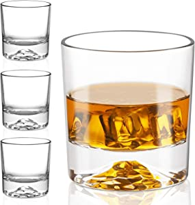 Whiskey Glasses - Premium 10 Ounce Scotch Glasses Set of 6 /Old Fashioned Whiskey Glasses/Style Glassware for Bourbon/Rum glasses/Bar Tumbler Whiskey Glasses (2020 NEWEST DESIGN)