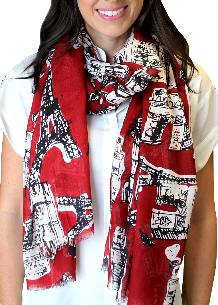 Anika Dali Women's Bonjour Paris Scarf, Lightweight, Perfect for Travel (Rio Red)