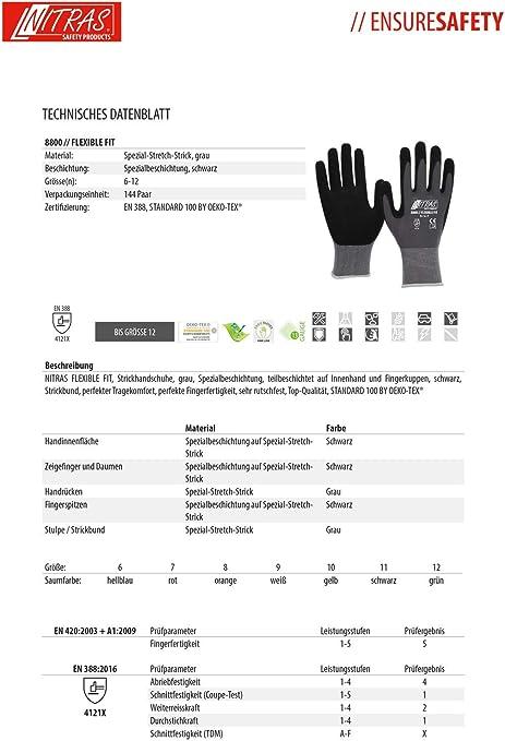 3 pares de guantes de trabajo Nitras 8800 EN 388 Flexible Fit - Guantes de mecánico Guantes de montaje Guantes de protección Guantes de jardinería ...