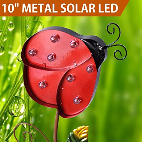 Bright Zeal 10u0026quot; METAL Ladybug LED Solar Lights Outdoor   Red Ladybug  Garden Statue Yard