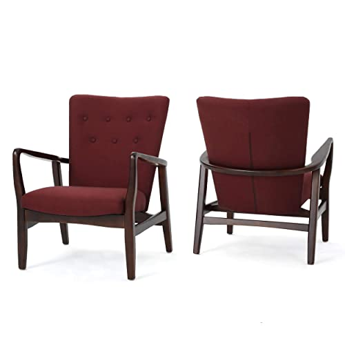 Christopher Knight Home Suffolk French Style Fabric Arm Chair Set of 2 Deep Red