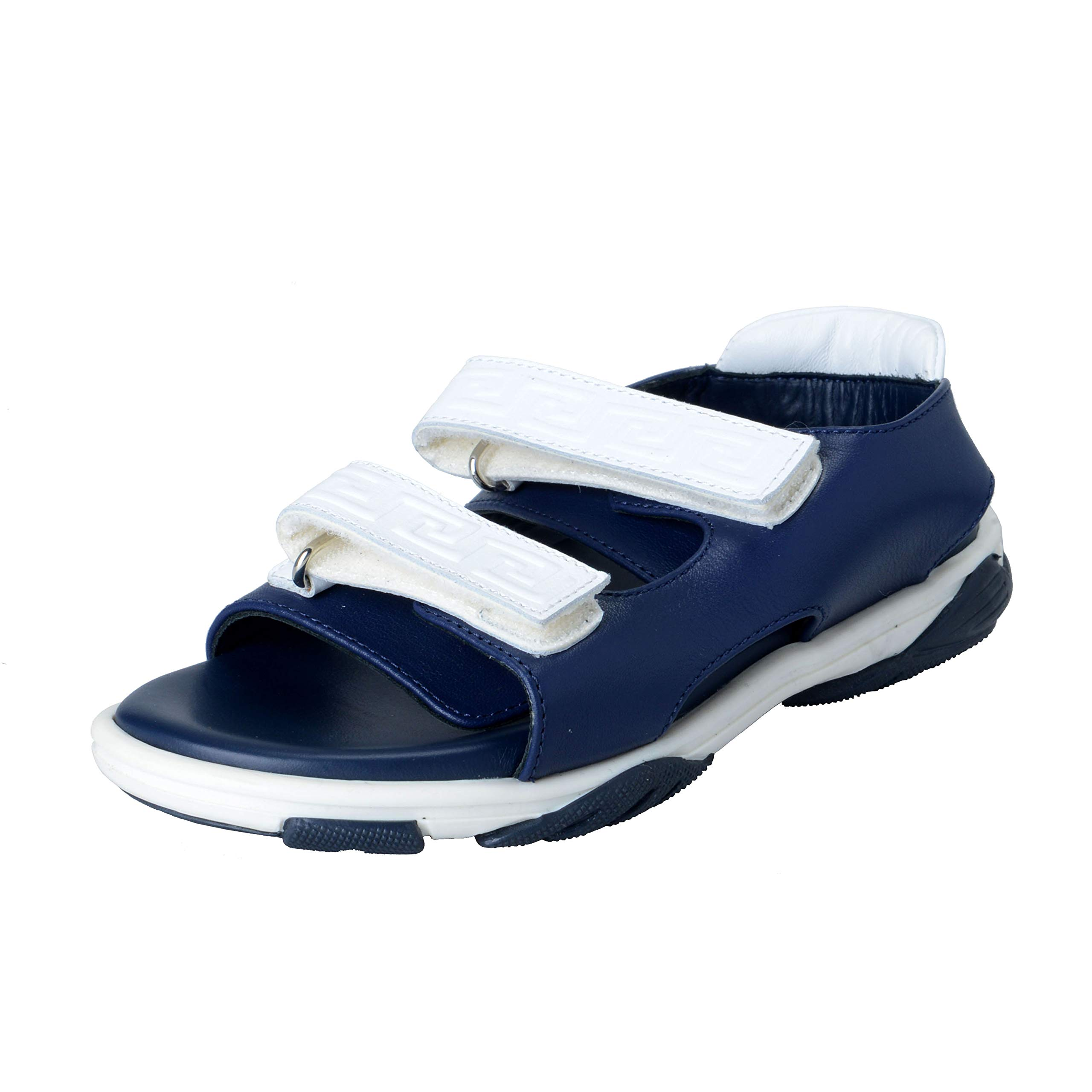 Versace Young Kid's Blue/White Strappy Leather Sandals Shoes Sz 31