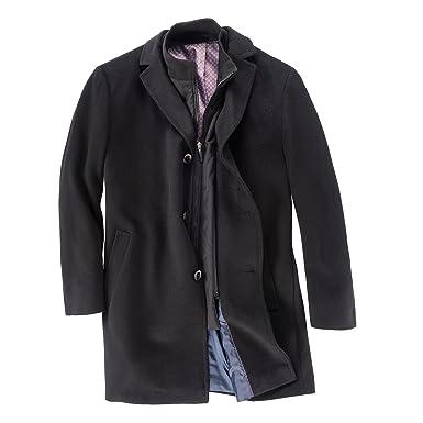 b3163f4d845e Gebr. Weis schwarzer Mantel mit Wolle Übergröße  Amazon.de  Bekleidung