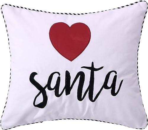 Levtex Rudolph Heart Santa Pillow, Christmas, 100 Cotton, White, red, Black