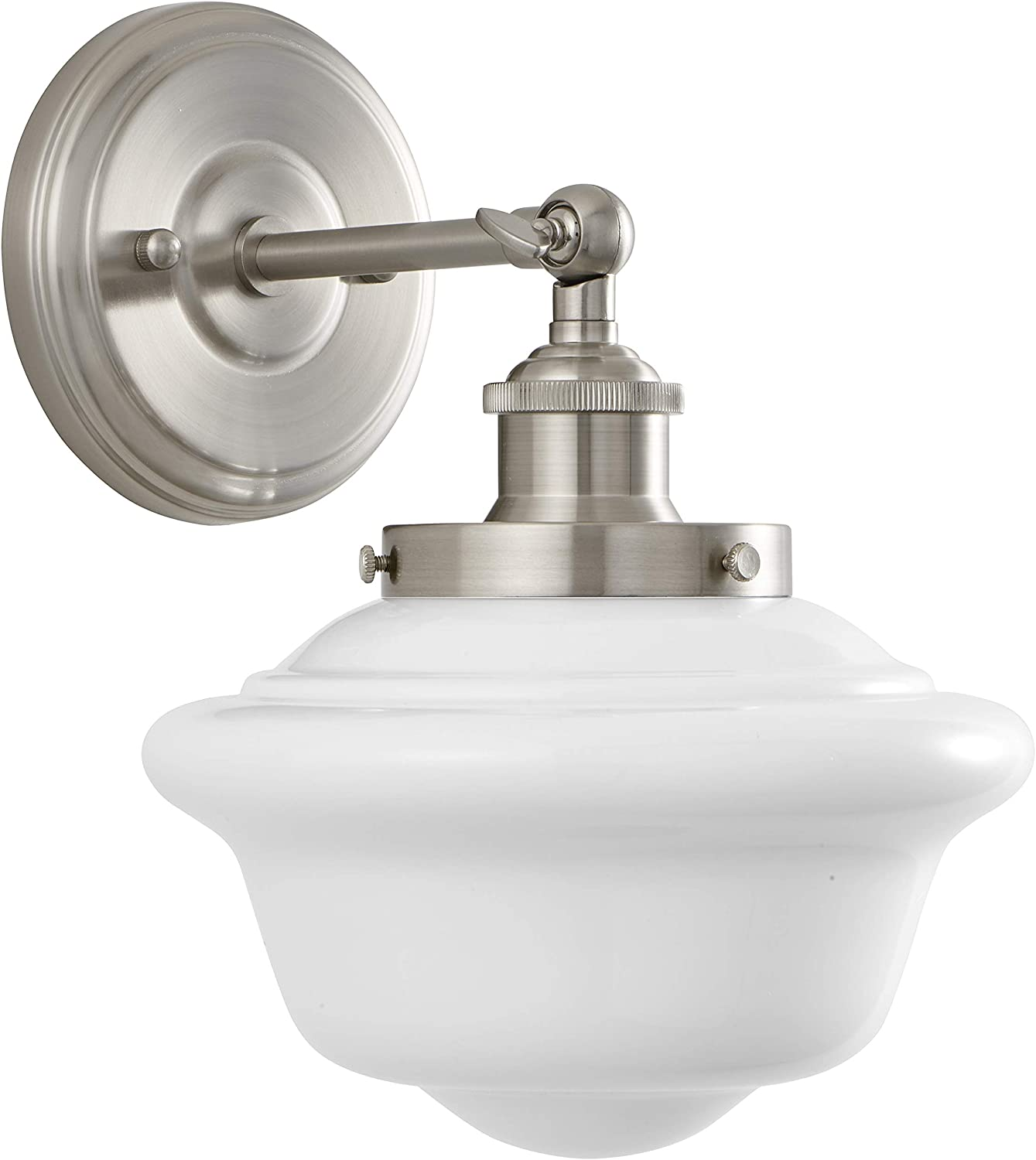 Lavagna 1 Light Bathroom Vanity Brushed Nickel with Milk Glass Linea di Liara LL-WL271-MILK-BN