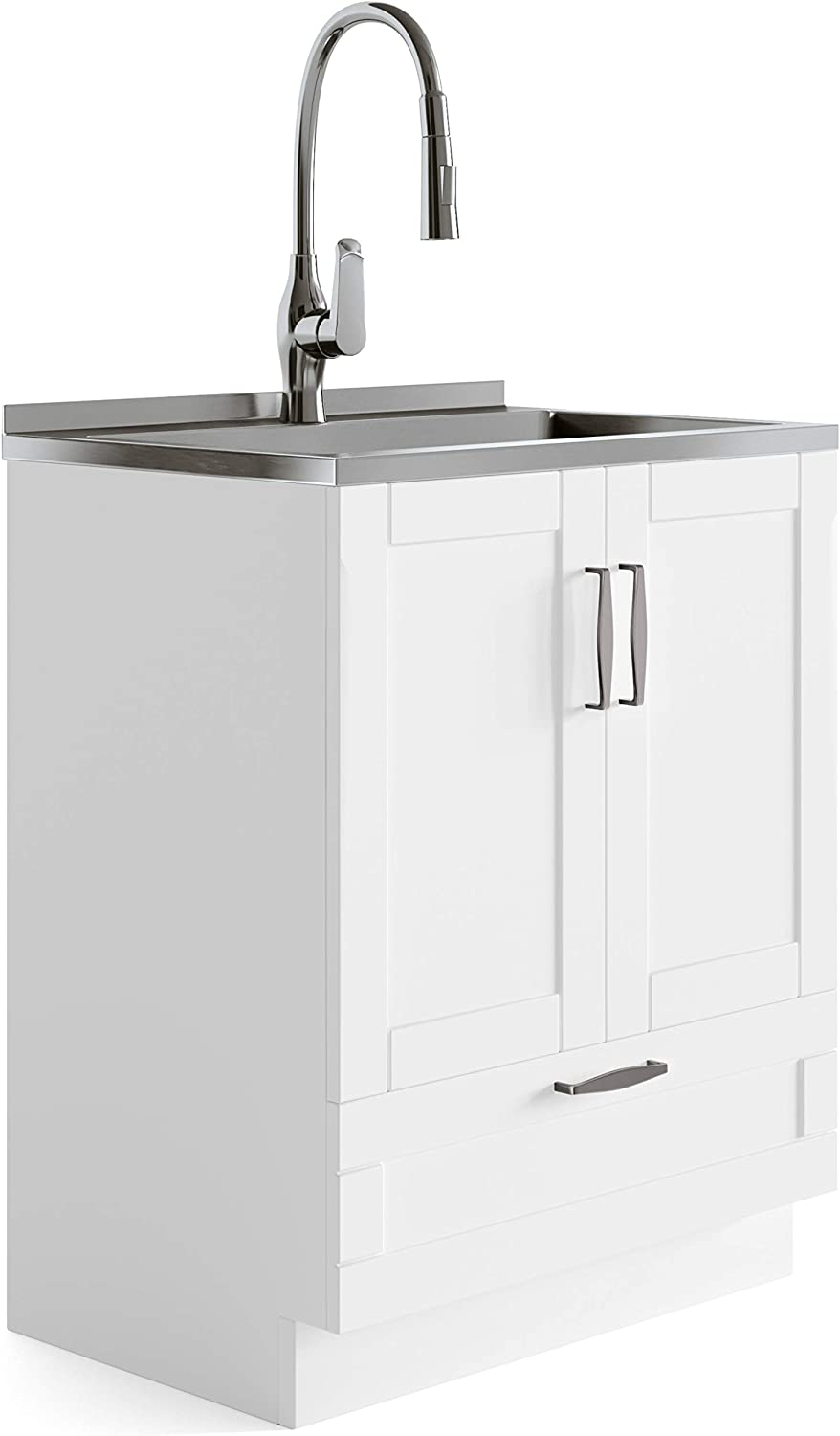SIMPLIHOME Reed Transitional 28 inch Deluxe Laundry Cabinet with Pull-out Faucet and Stainless Steel Sink