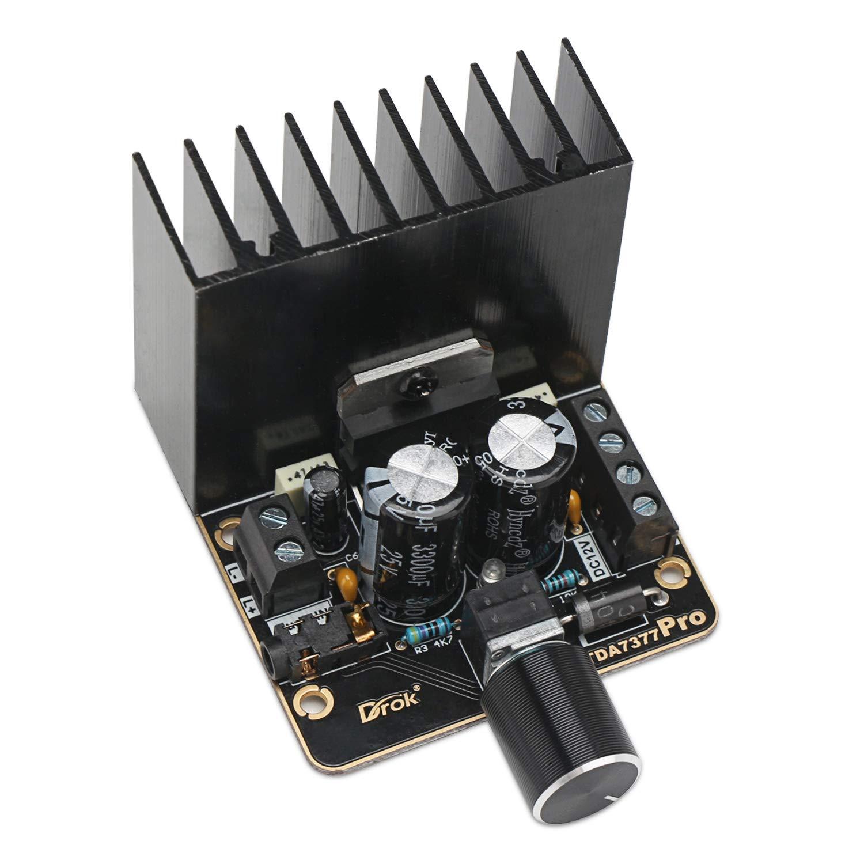 Power Amplifier Board, DROK 30W+30W Dual Channel 2.0 Audio Amplifier Kit Class AB DC 12V Digital Stereo Amp Module TDA7377 Car Amplify Circuit for Speakers System DIY