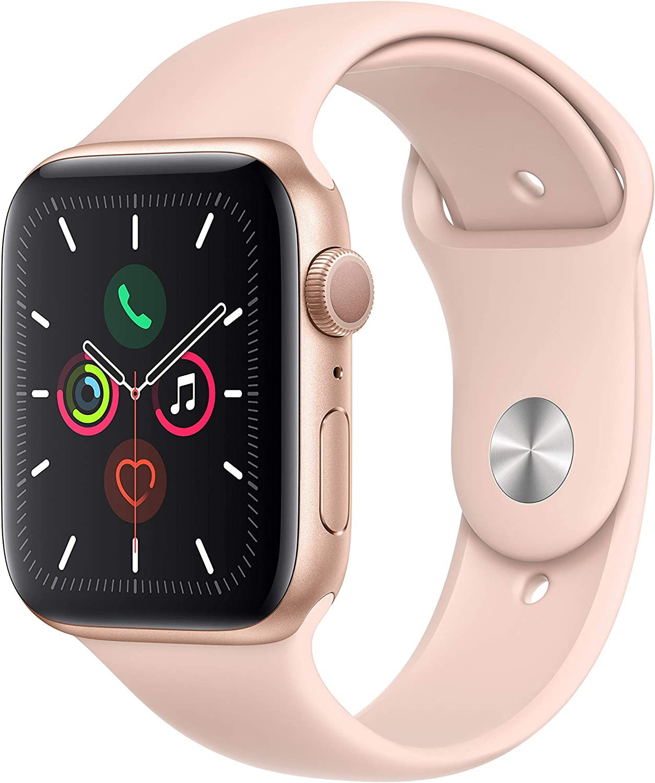 Apple Watch Series 5 (GPS, 44 mm) Aluminio en Oro - Correa Deportiva Rosa Arena
