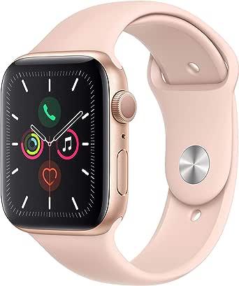 Apple Watch Series 5 (GPS, 44‑mm) kast van goudkleurig aluminium wit rozenkwarts sportbandje - S/M en M/L