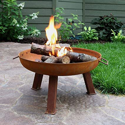 Amazon Com Tidworth Bowl Cast Iron Wood Burning Fire Pit Garden Outdoor
