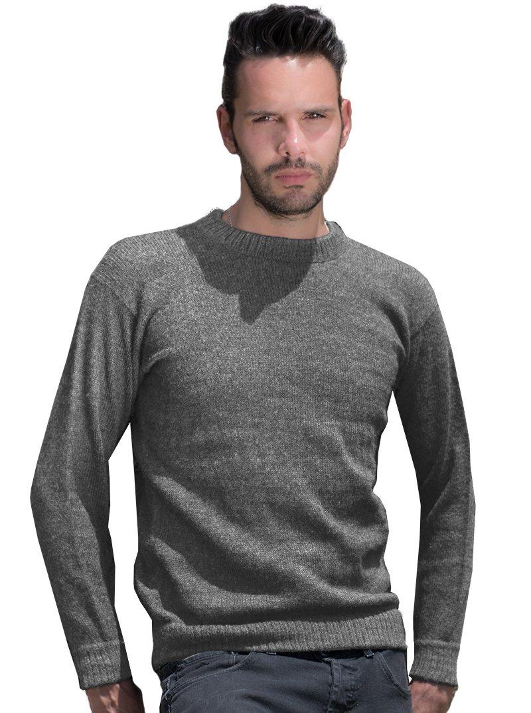 Gamboa Gray Basic Alpaca Sweater (Large)