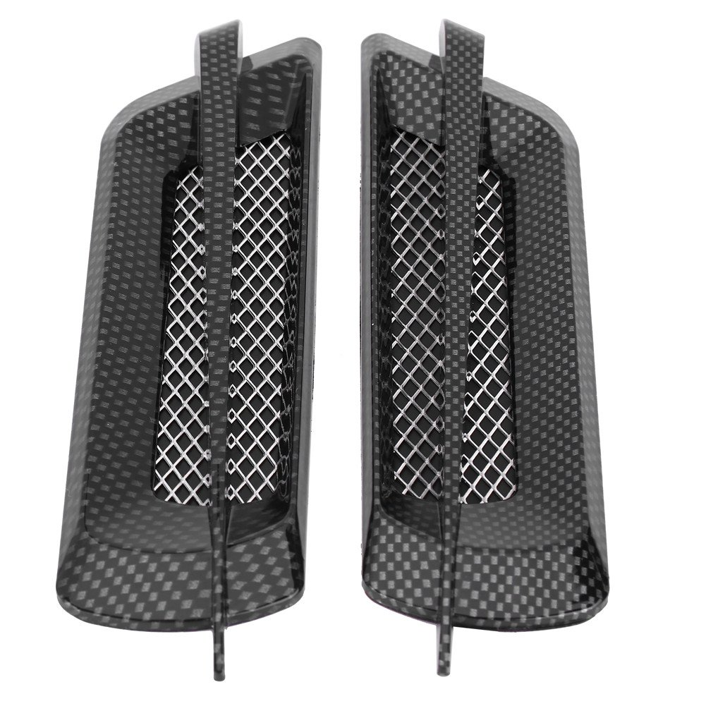 Qiilu 2pcs Car Side Air Flow Intake Grille Vent Net Hole Cover Decorative Sticker Universal(carbon fiber)