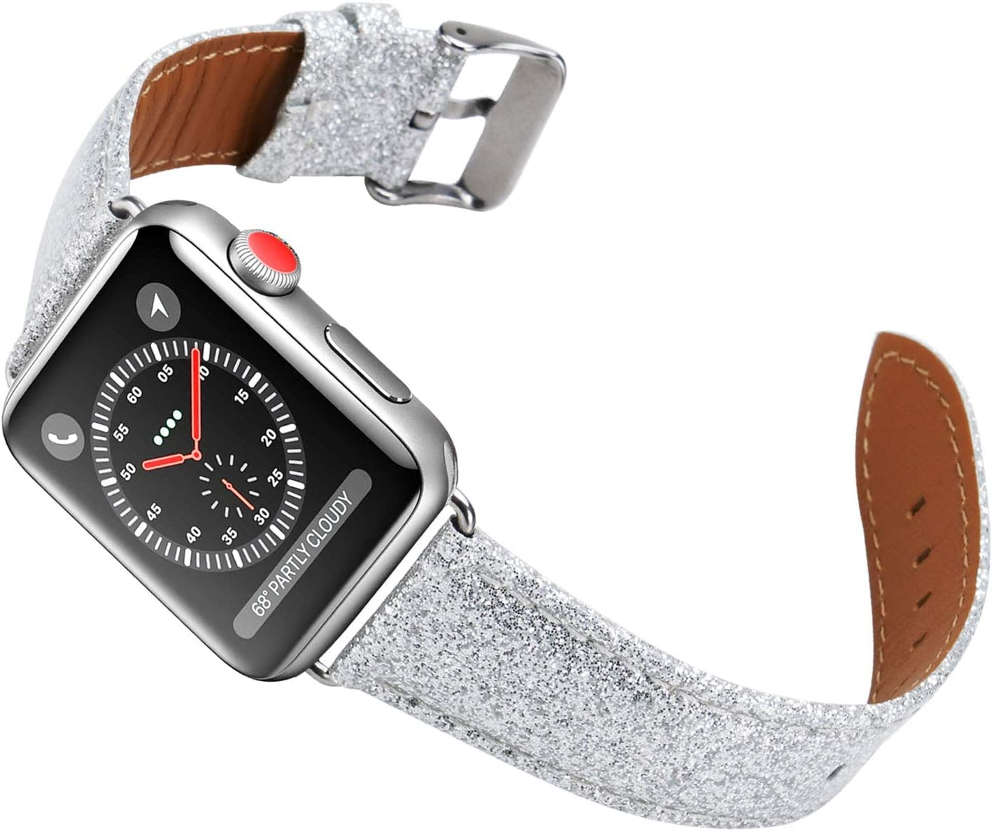 ALADRS Bling Leather Watch Straps Compatible with Glitter Apple Watch Band 38mm 40mm, Shiny Sparkly Wristbands Replacement for iWatch Series 6 5 4, SE (40mm) Series 3 2 1 (38mm), Silver