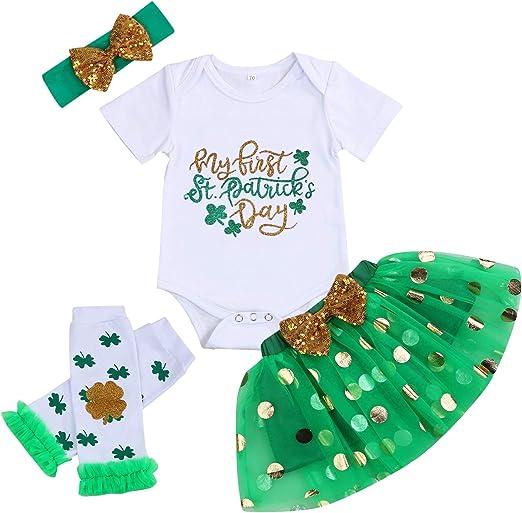 Newborn Baby Boys My First St Patricks Day Outfit Set Patricks Day Romper+Leg Warmers 2Pcs St