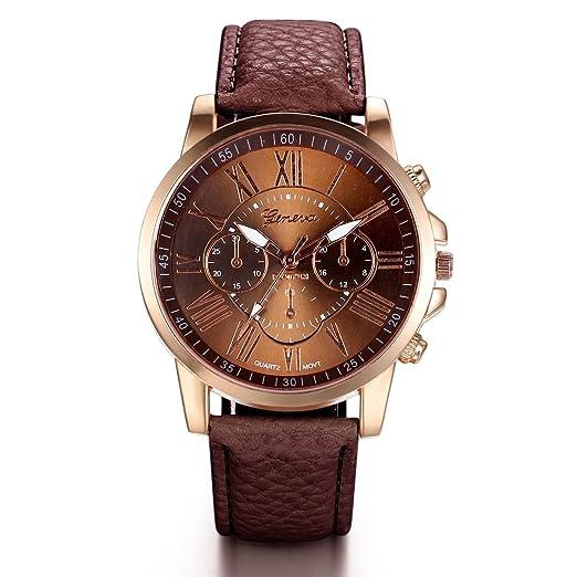 Jewelrywe Relojes de Mujer Correa de Cuero Retro Vintage Números Romanos, Reloj de Pulsera Fina para Mujer, Color Caramelo Café, Regalo para su amor: ...