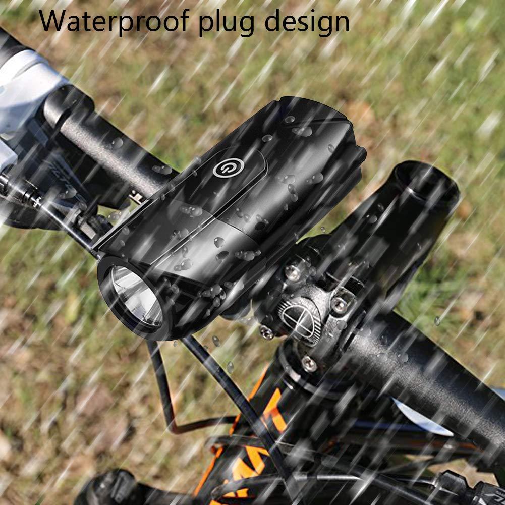 Lukasa LED Fahrradlicht Set Wasserdicht LED Fahrradlampe USB Wiederaufladbare LED Fahrradbeleuchtung mit 3 Licht-Modus f/ür Radfahren und Camping