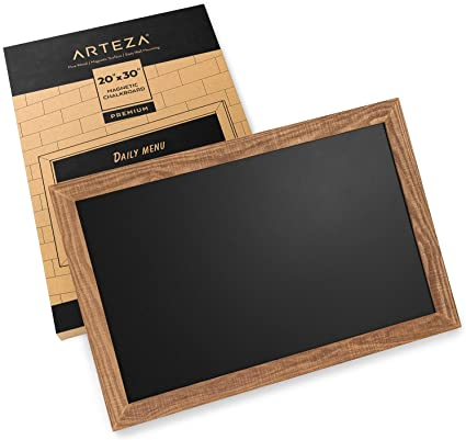Arteza Pizarra magnética de tiza para paredes, 51 x 76 cm, fácil de montar, marco rústico de madera de pino, letrero de pizarra negra para cocinas, cafeterías, tiendas y eventos especiales: Amazon.es: