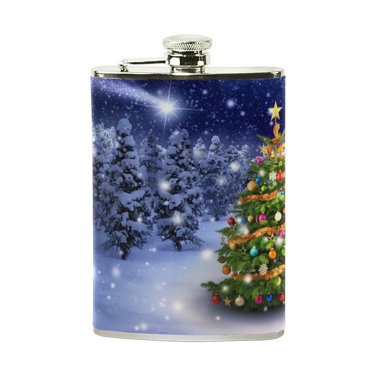 【在庫一掃】 Alazaクリスマスツリーヒップフラスコステンレススチール8オンスポケットショットのフラスコLiquor B075ZS8GGR Whiskey % VodkaラムPUレザーWrapped 100 Leak % Leak Proof B075ZS8GGR, 帆布バッグ登山用品のオクトス:858155f7 --- a0267596.xsph.ru