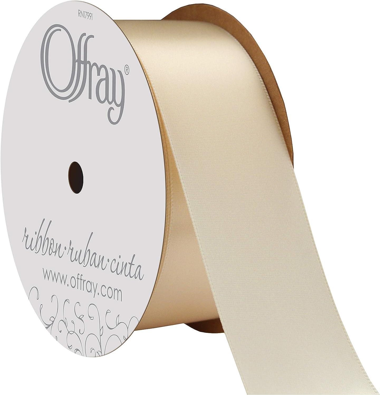 New Berwick Offray 5//8 in x 9 ft Light Beige Sheer Polyester Ribbon Roll