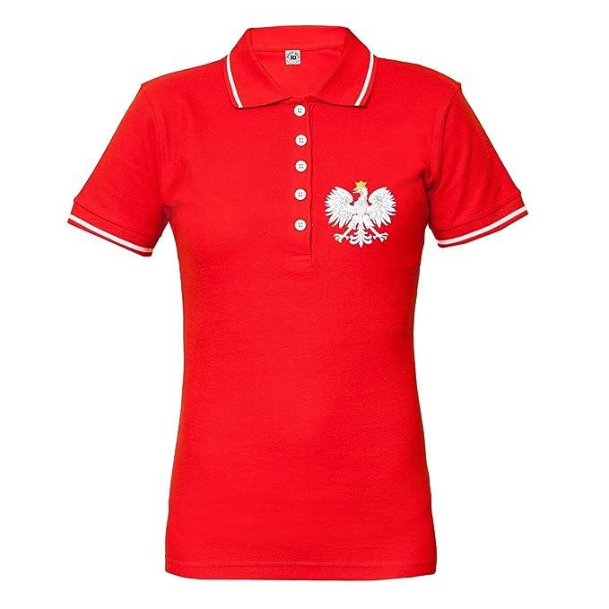 Rule Out Mujer Polo Camiseta Ropa para Fans Pulido Fútbol Equipo Polska. Polonia Supporter. Rojo: Amazon.es: Ropa y accesorios