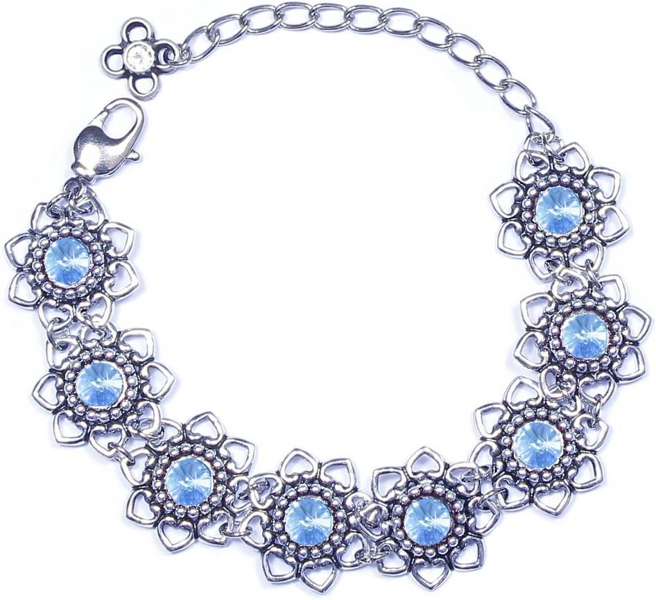 Luisia® Leandra - Pulsera con flores de corazón y cristales de Swarovski®, azul claro, ca. 17 cm + 7 cm