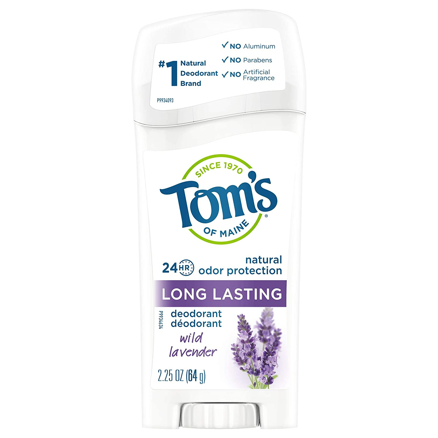 Tom's of Maine Natural Deodorant Stick, Aluminum Free, Long Lasting, Wild Lavender, 2.25 Ounce