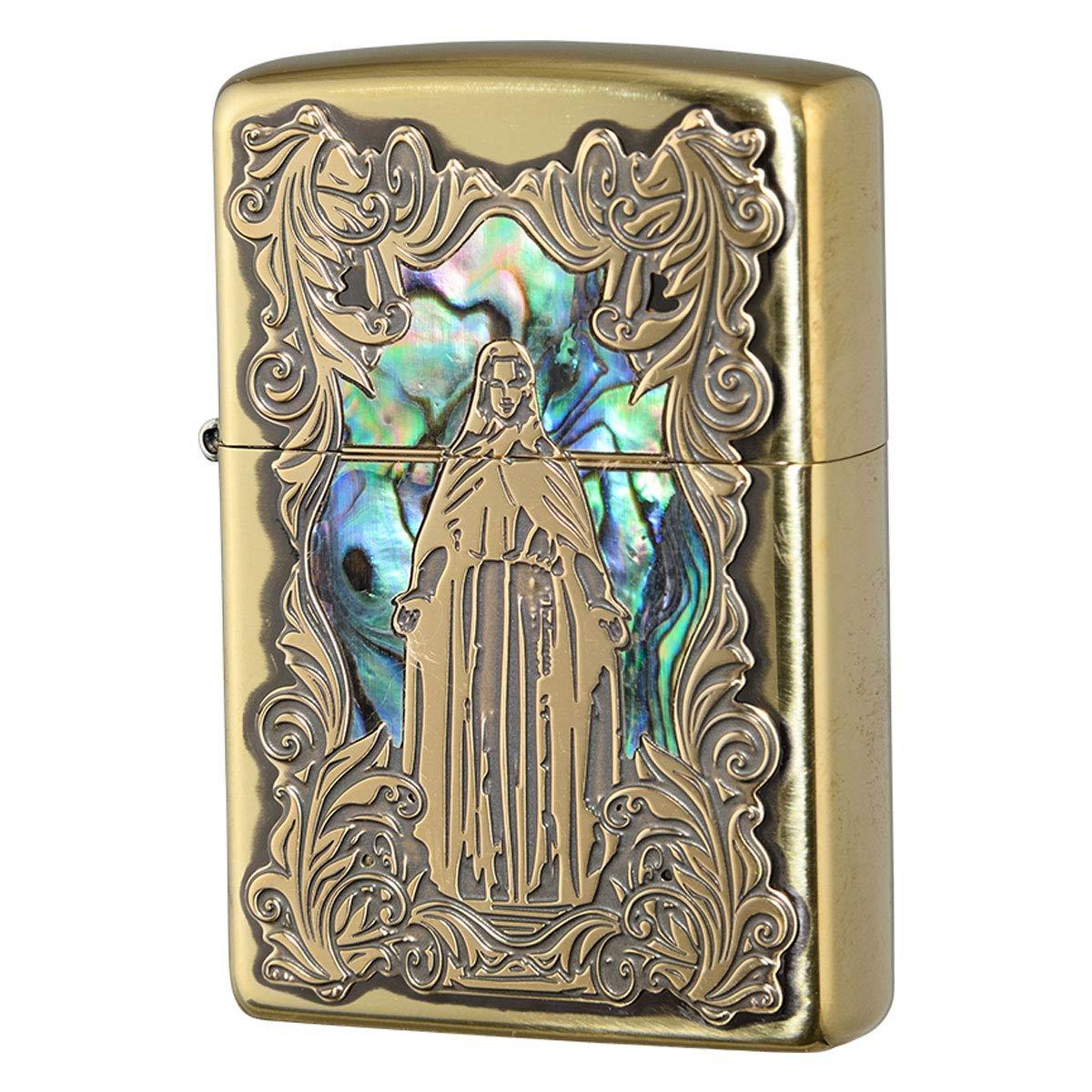 zippo ジッポー ライター 名入れ シェルマリア 貝貼り ゴールド 真鍮いぶし メンズ   B07HMBT5JR