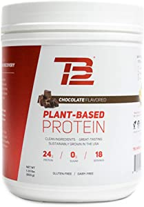 TB12 Plant Based Protein Powder, Chocolate Flavor - Vegan, 1g Net Carb, Non-GMO, Dairy-Free, Sugar-Free, Sustainably Sourced Pea Protein (18 Servings / 1.33lbs)