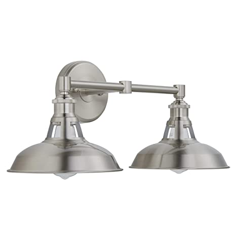 29c82f74f88a3 Olivera 2 Light Bathroom Vanity Light| Brushed Nickel Industrial Wall  Sconce with LED Bulbs LL-WL882-1BN