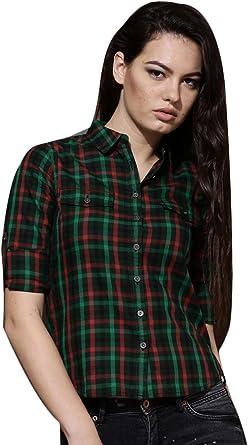 Verde y rojo de la Mujer camisa a cuadros: Amazon.es: Ropa y accesorios