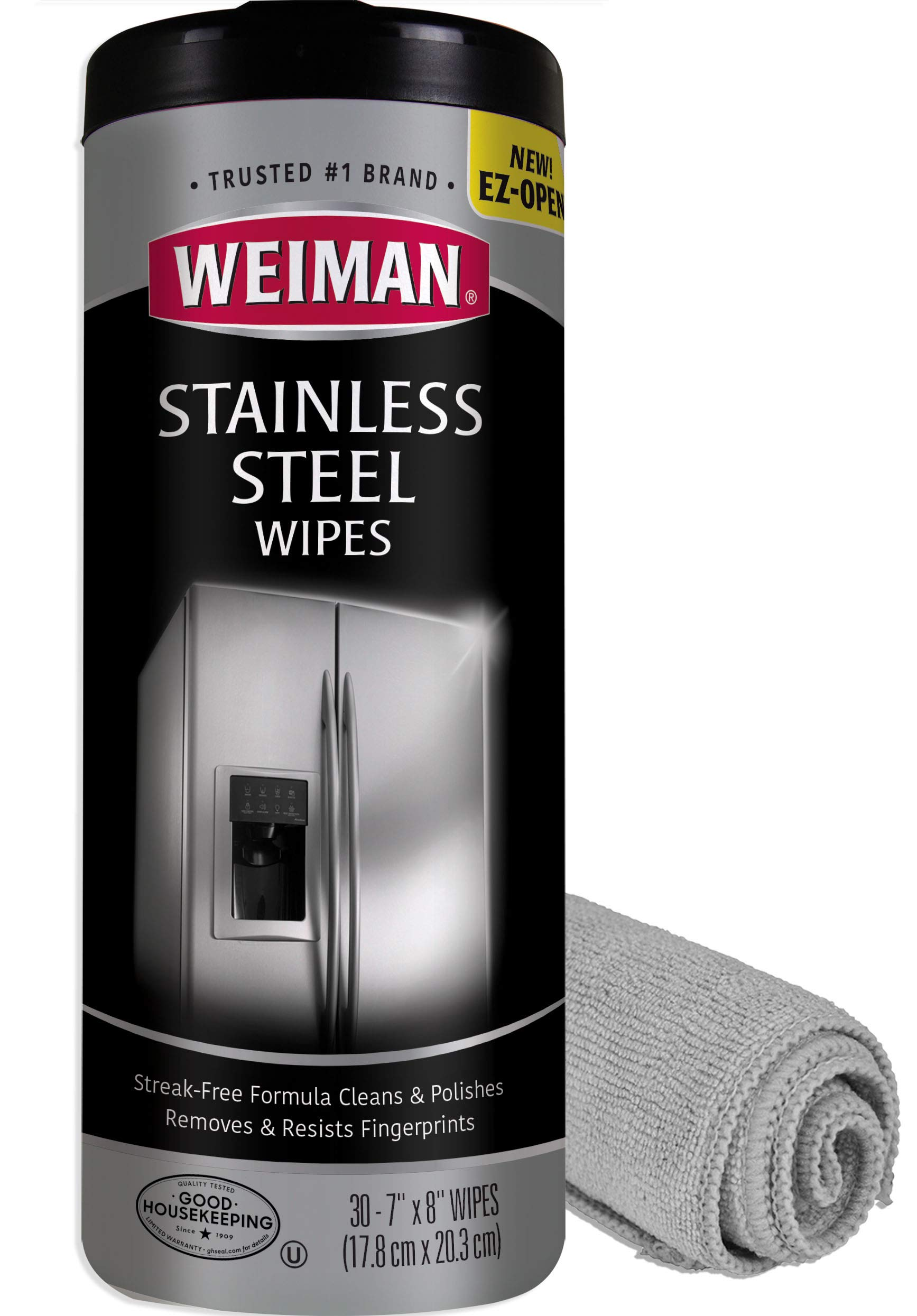 Weiman Stainless Steel Cleaning Wipes (Large Microfiber Cloth) Non-Toxic Removes Fingerprints Residue Water Marks and Grease from Appliances - Works Great on Refrigerators Dishwashers Ovens Grills by Weiman