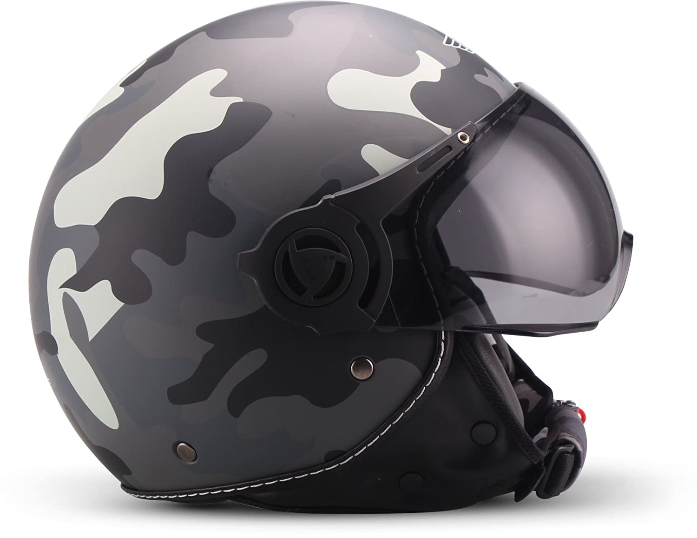 JET VESPA Roller Motorrad-Helm Bobber Chopper Retro-Helm Pilot 55-56cm ECE gepr/üft kurzes Visier S Moto Helmets H44 Leather black Leder schwarz
