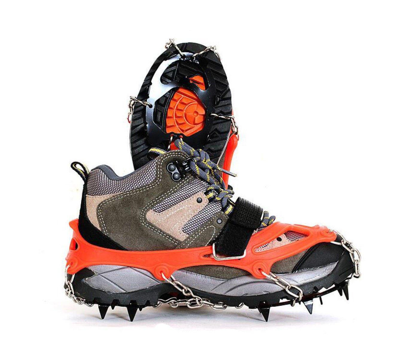 Griffe 12 Zähne Krallen Steigeisen Anti-Rutsch-Universal Stretch Schuhe Abdeckung Edelstahl Kette Outdoor Ski Eis Schnee Wandern Klettern (2 Stück),Orange-M