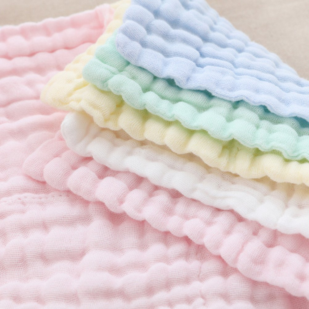 Baby Muslin Washcloths and Towels - Natural Organic Cotton Baby Wipes - Soft Newborn Baby Face Towel and Muslin Washcloth for Sensitive Skin- Baby Registry as Shower Gift, 5 Pack 10x10 inches By Mukin