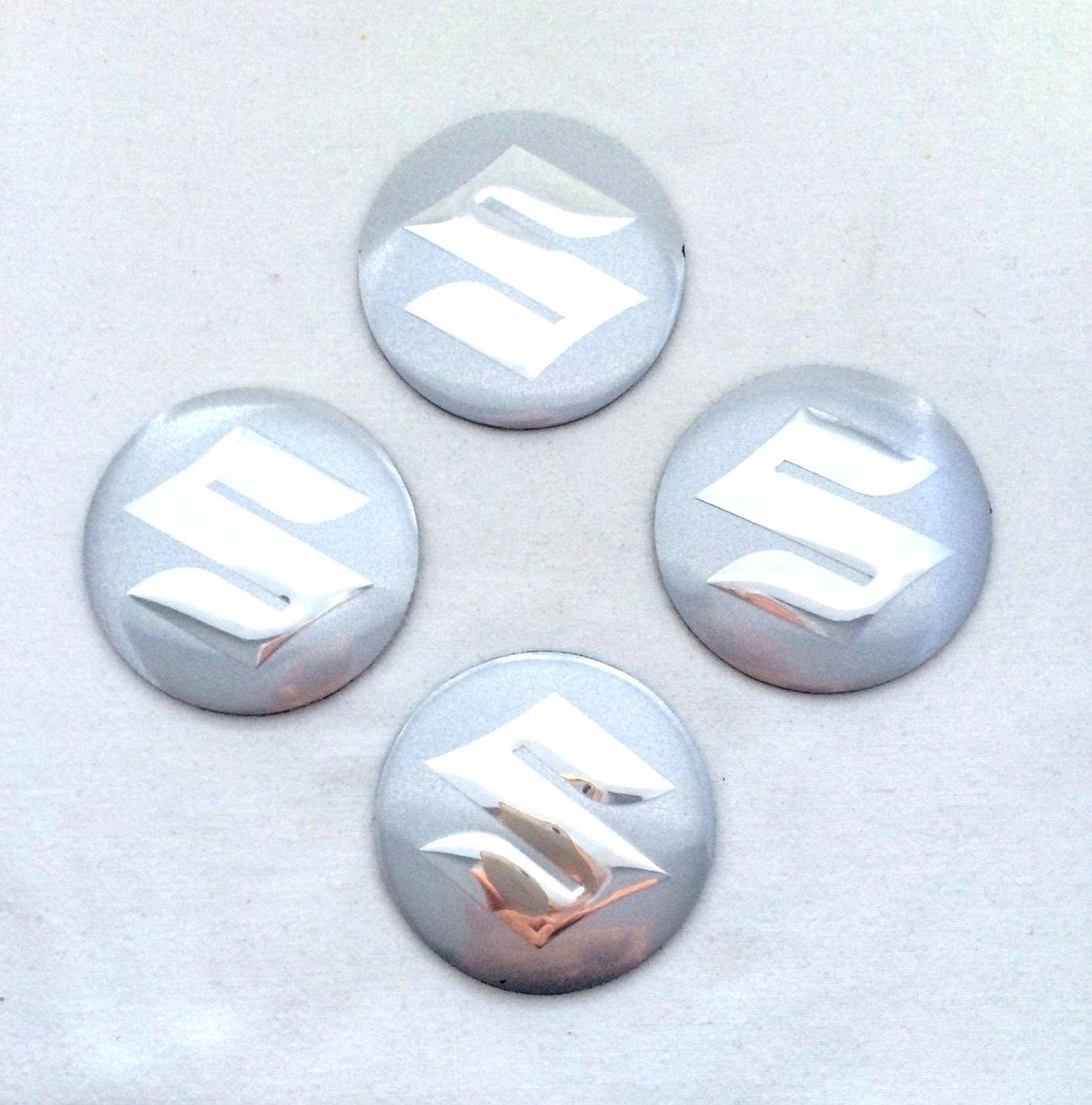 Amazon fr suzuki argent chrome 3d emblème centre de roue cap stickers logo badge enjoliveurs 56 5 mm dôme lot de 4