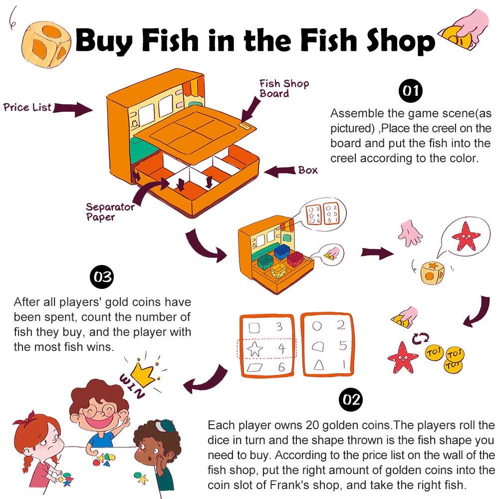 ANIKI TOYS La Tienda de Pescado de Frank Juego de Pesca magn/ética Juego de rol 2 3 4 5 a/ños Educativo para ni/ños Interactivo Tiempo de diversi/ón Familiar