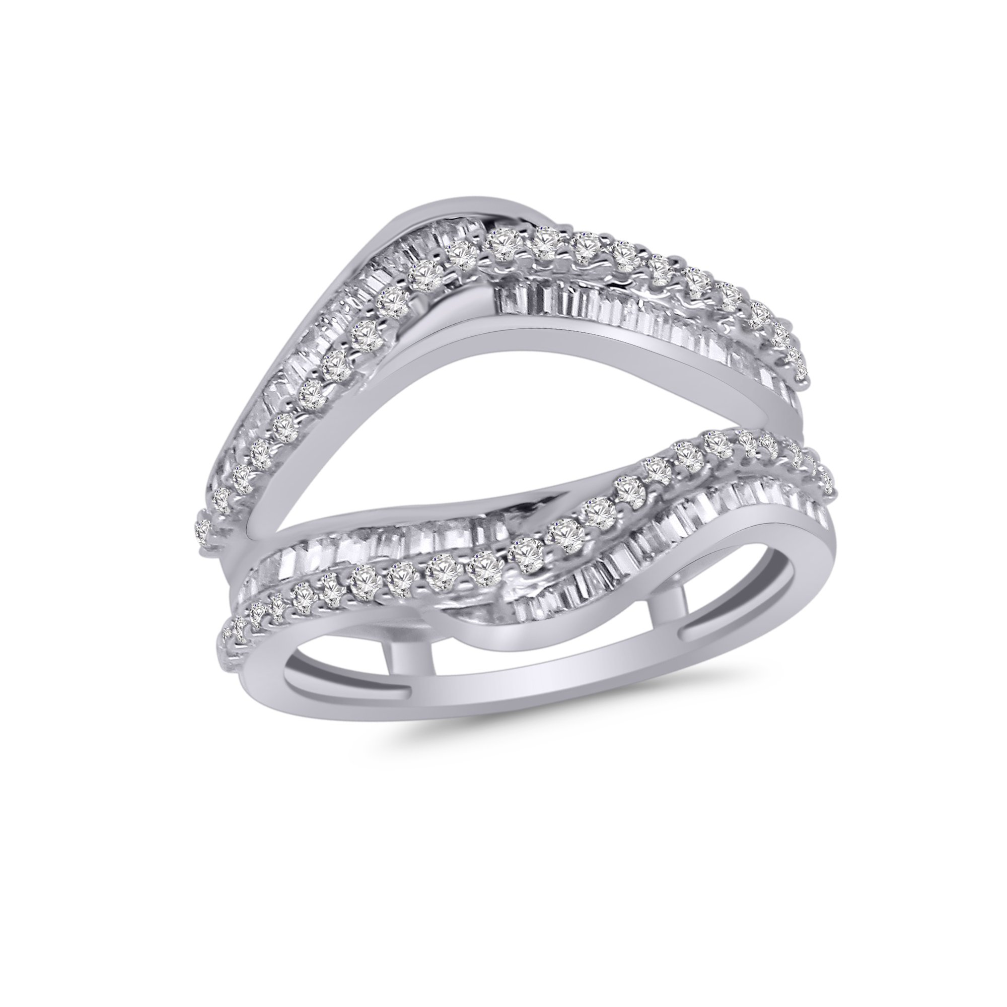 OMEGA JEWELLERY 0.95 Ct Round & Baguette Shape Real Diamond Wrap Enhancer Ring in 14K White Gold (6.5)