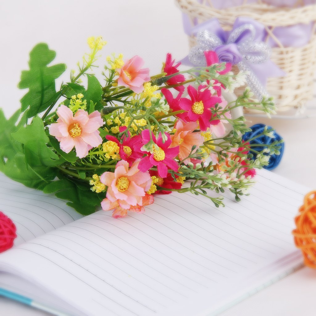 Amazon cjeslna 1 bunch cineraria artificial flower bouquet amazon cjeslna 1 bunch cineraria artificial flower bouquet home office decor rose red and pink home kitchen dhlflorist Gallery