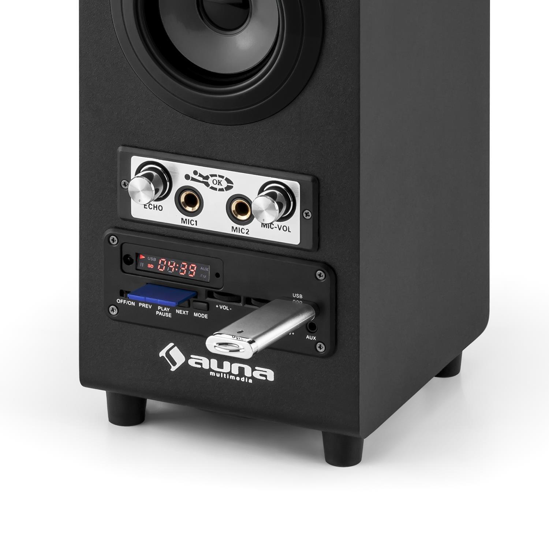 AUNA DiscoStar Black Edition 2019 - Altavoz Bluetooth 2.1, Sección MP3 con Pantalla LED, SD, USB, Mini USB, Iluminación LED, Sintonizador FM, ...