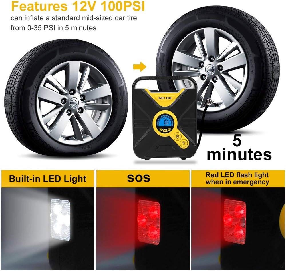 GELOO Compresseur dair Portatif Num/érique 120W pour Pneu Auto Gonfleur Pompe /Électrique /À Voiture Moto V/élo Ball Gonfler Rapidement /Équip/é avec /Éclairage LED de 3 Mode Version Mise /à Jour