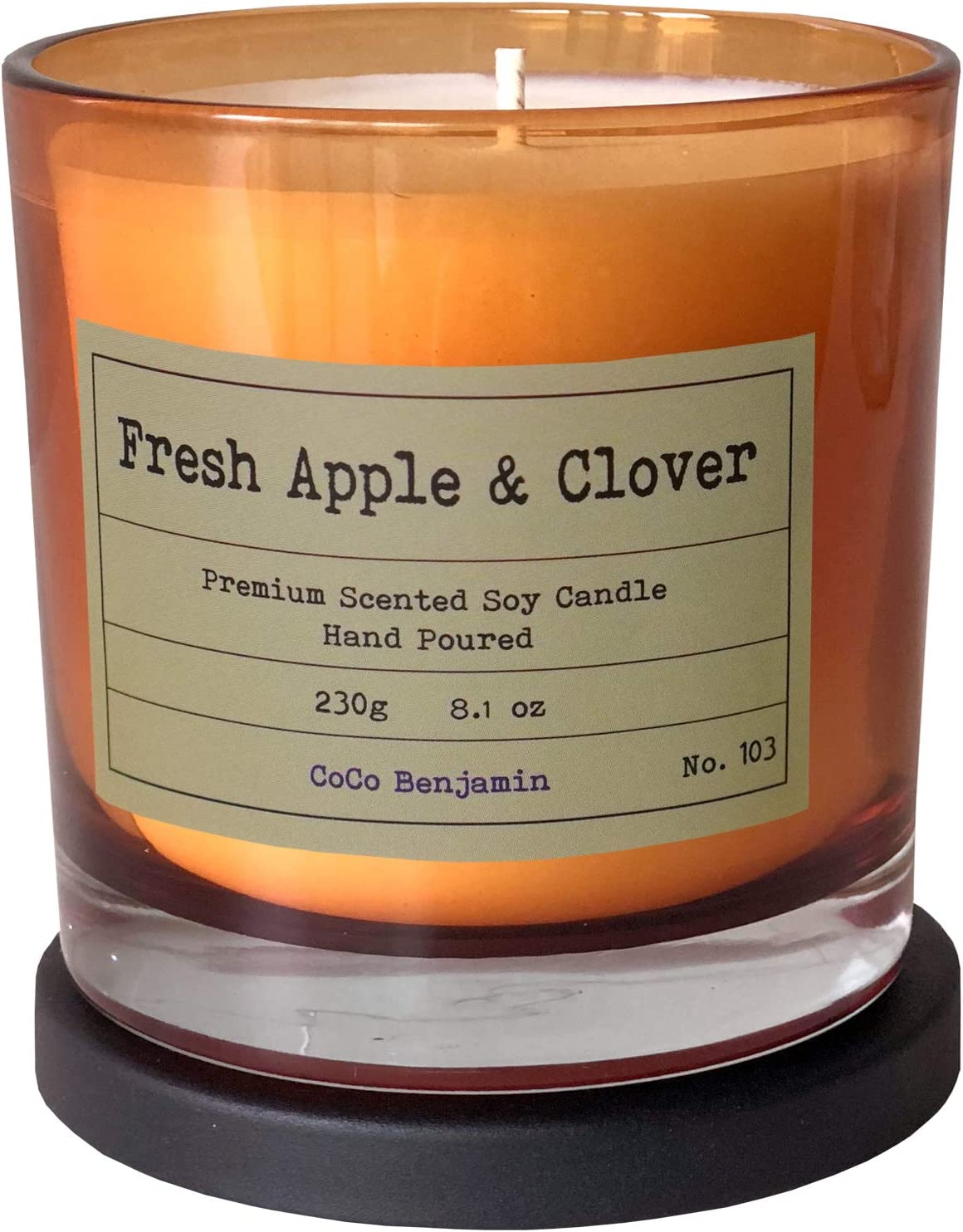 Soy Candle , Highly Scented, Hand Poured, 8.1 oz (Fresh Apple & Clover)